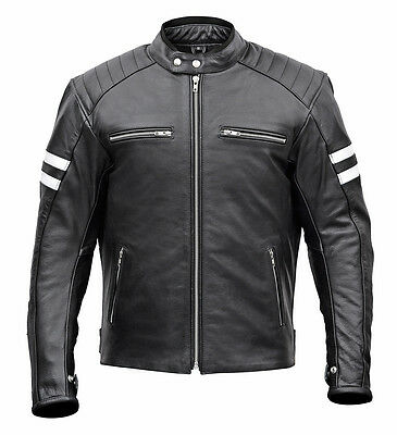 Men Classic Leather Motorcycle Jacket with Lifetime Leather Warranty MBJ032