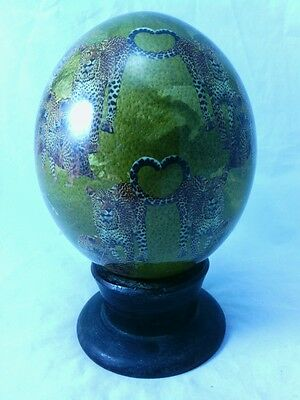 Unusual Decorative Decoupage Ostrich Egg African Cheetahs Signed And Dated 2006