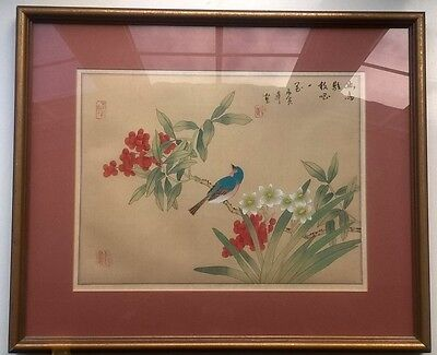 Large Vintage Chinese Painting on Silk Blue Bird with White Flowers Red Berries