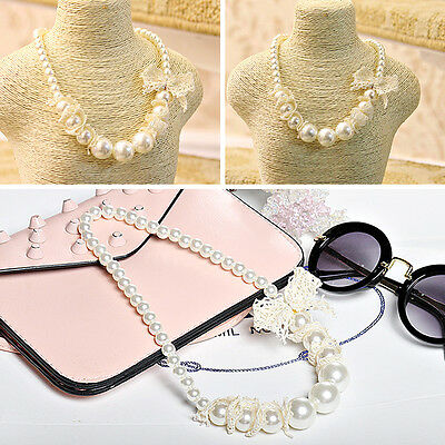 Pearl Lace Girls Beautiful Necklace Jewelry Bowknot Children Beads Cute Chain