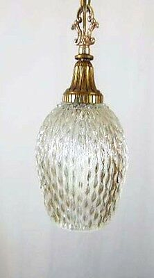 Very Pretty Vintage Mid Century Retro Ripple Glass Shade Swag Lamp & Brass