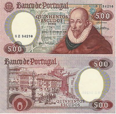 Portugal 500 Escudos Banknote 1979 Choice About Uncirculated Cat#177-C-4290