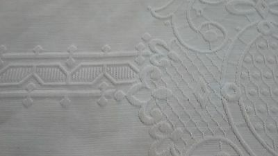 Antique Vintage Linen Heavy Cotton Embossed Bedspread Table Cloth Textile Solid