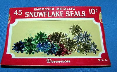 Unopened Vtg Pkg 1950 Dennison Foil Snowflakes Stickers (Embossed Seals) Crafts