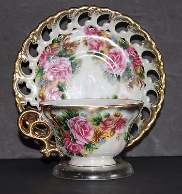Vintage Bone China Tea Cup And Saucer By Royal Sealy Hand Painted Rose Pattern