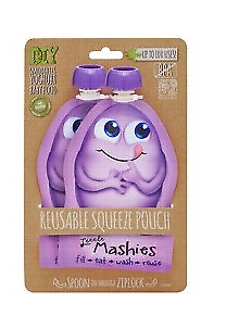 Little Mashies Reuseable Food Pouches Reusable Squeeze Pouch Pack of 2 - Purp...