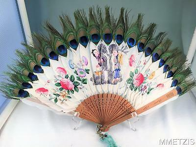 Fine Antique Chinese Figural Pierced Sticks Hand Painted Feathers Leaf Fan Peaco