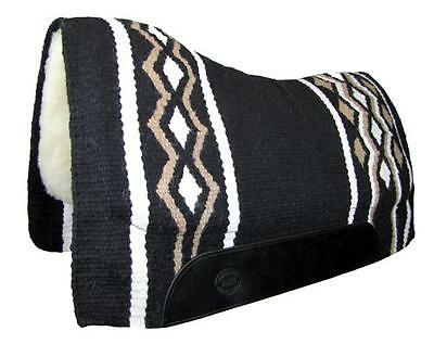 Black Contoured Western Thick Padded Horse Saddle Blanket Pad NZ Wool