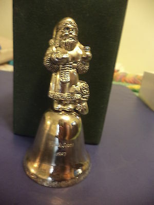 1997 Christmas Bell 2nd  Edition Silver Plated Santa Claus Making Spirits Bright