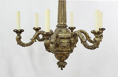 STATELY Antique Bronze Brass French Empire 6 Lamp Chandelier XL No Crystal 26""