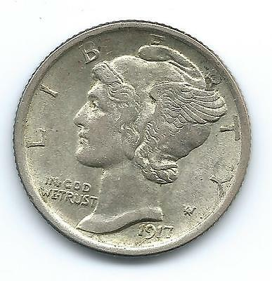 1917 D Silver Mercury Dime Higher Grade and free shipping