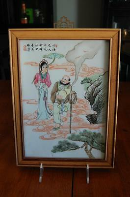 ANTIQUE HAND PAINTED CHINESE PORCELAIN PLAQUE - CALLIGRAPHY & MAKE - Immortal