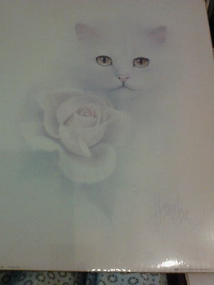 2).  16 x 20 vintage cat prints by Bob Harrison. Both signed..