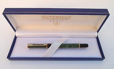 Vintage Waterman Laureat Green Marble Roller Pointe / Ballpoint Pen W/ Box