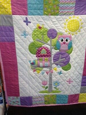 Quilt Kit Cot Size 100% Cotton Olian Owl Fusible Applique can be Personalised