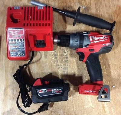 "New Milwaukee FUEL 2706-20 1/2"" One Key Hammer Drill M18 XC5.0 Battery&charger"