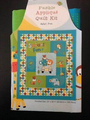 Quilt Kit Cot Size 100% Cotton Safari Fun Fusible Applique can be Personalised