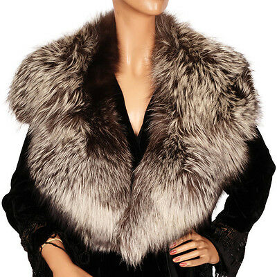 Vintage Silver Fox Fur Collar 1940s Large
