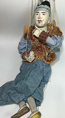 """Antique Oriental Burmese Articulated Wood Marionette Puppet Theatre Doll 23"""" #1"""