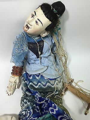 """Antique Oriental Burmese Articulated Wood Marionette Puppet Theatre Doll 23"""" #3"""