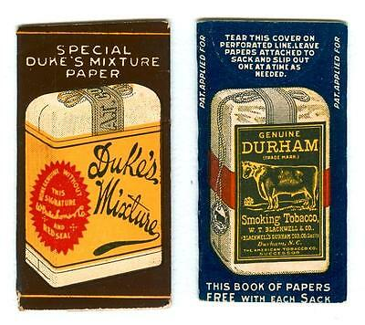 LOT of 2 ~ DUKE'S MIXTURE & DURHAM SMOKING TOBACCO CIGARETTE ROLLING PAPERS