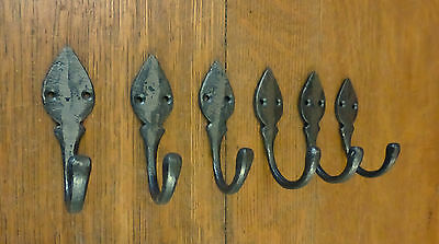 "6 Natural Iron Color Single Leaf 3.5"" Hanging Hooks Decorative Antique Style"