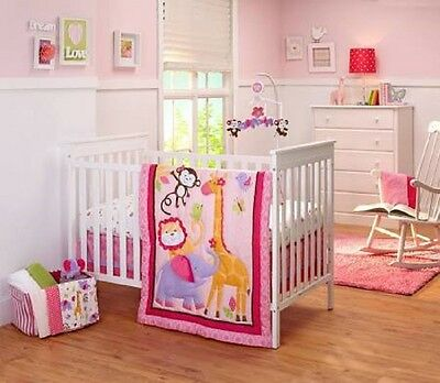 Crib Bedding Set Pink Little By Nojo Tumble Jungle Baby 4 Piece New