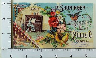 Victorian Trade Card B. Shoninger Organ & Piano Co Cherub Lady Birds Flowers F62