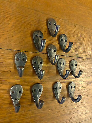 "12 Natural Iron Single 2"" Hanging Hooks Small Decorative Antique Style Hat Coat"