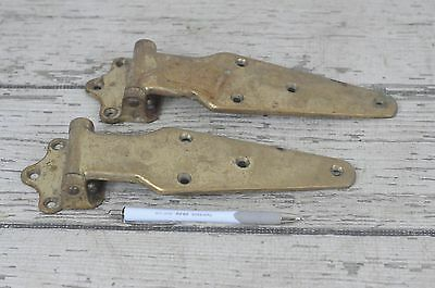 Pair Very Large Vintage Brass Strap Hinges Nautical Boat Hinge Northey 542A