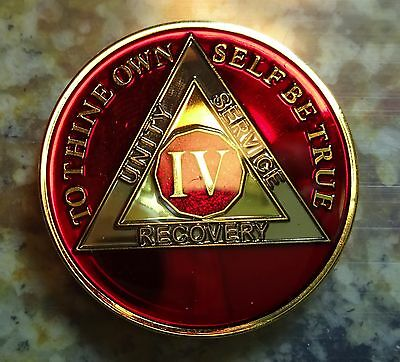 AA Red Gold 4 Year Coin Tri-Plate Alcoholics Anonymous Medallion Sobriety Chip