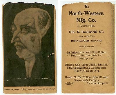 c1900 Indianapolis Indiana North-Western Mfg Co trade card bug killer hand cuffs