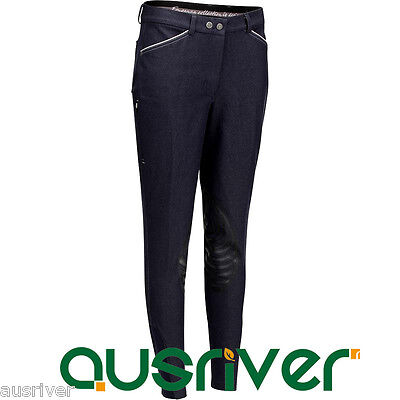 Denim Look Women Clothing Ladies Breeches Jodphurs Horse Riding Equestrian 36-46