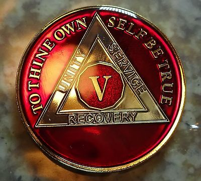 AA Red Gold 5 Year Coin Tri-Plate Alcoholics Anonymous Medallion Sobriety Chip