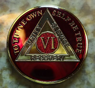 AA Red Gold 6 Year Coin Tri-Plate Alcoholics Anonymous Medallion Sobriety Token
