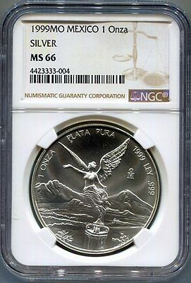 NGC-MS66 1999-Mo MEXICO 1-Onza Silver Libertad Coin - Blast White!