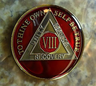 AA Red Gold 8 Year Coin Tri-Plate Alcoholics Anonymous Medallion Sobriety Token