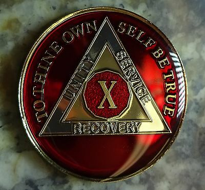 AA Red Gold 10 Year Coin Tri-Plate Alcoholics Anonymous Medallion Sobriety Chip