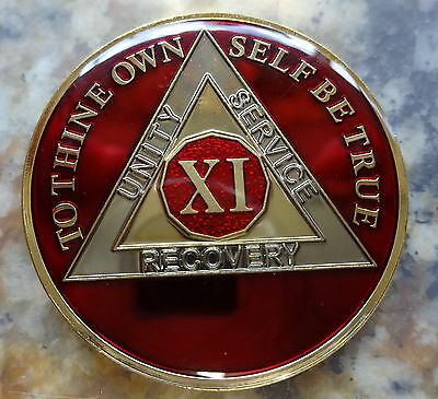 AA Red Gold 11 Year Coin Tri-Plate Alcoholics Anonymous Medallion Sobriety Chip