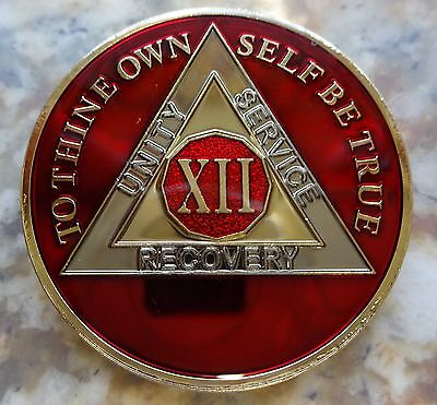 AA Tri-Plate Alcoholics Anonymous Red/Gold Coin 12 Years Chip Token Medallion