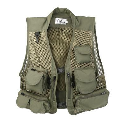 Mens Outdoor Breathable Mesh Vest Multi-pocketed Waistcoat Fishing Hunting Green