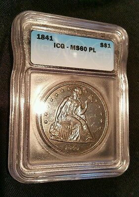 ☆1841 $1 (Prooflike) Liberty Seated Dollar MS-60PL Monster!!*Extremely RaRe!