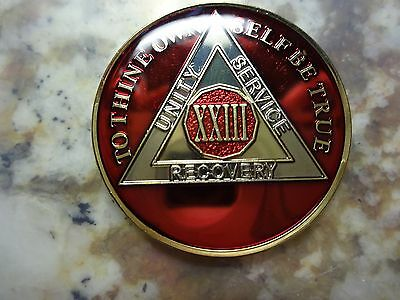 AA Red Gold 23 Year Coin Tri-Plate Alcoholics Anonymous Medallion Sobriety Chip