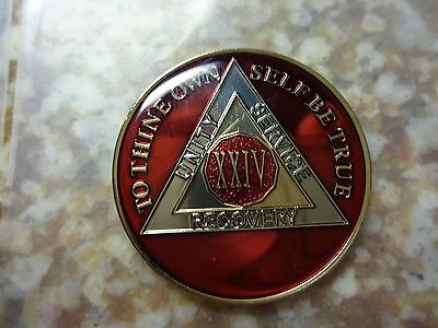 AA Red Gold 24 Year Coin Tri-Plate Alcoholics Anonymous Medallion Sobriety Chip