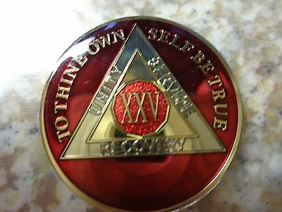 AA Tri-Plate Alcoholics Anonymous Red/Gold Coin 25 Years Chip Token Medallion