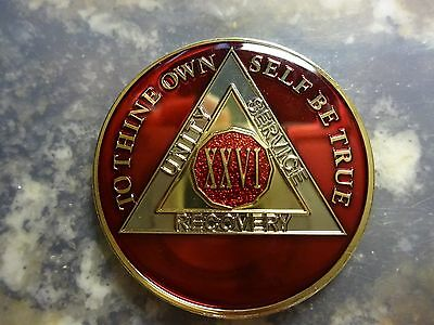 AA Red Gold 26 Year Coin Tri-Plate Alcoholics Anonymous Medallion Sobriety Token