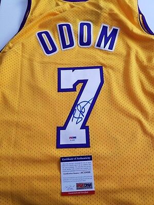 Lamar Odom signed jersey PSA/DNA Los Angeles Lakers autographed