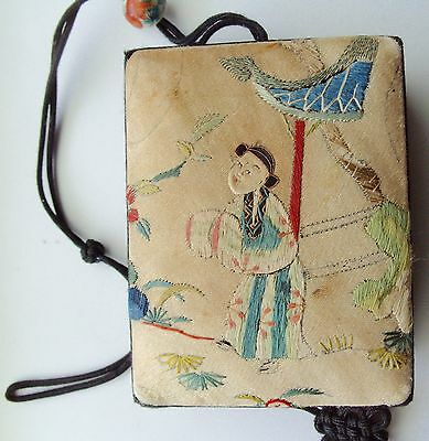 Antique Embroidered Chinese Silk Compact Purse With Mirror And Tassels