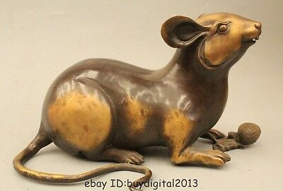 "12"" Chinese Fengshui Copper Zodiac Year Mouse Coin Wealth pine cone Statue"