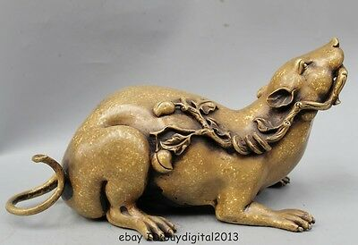 "12"" Chinese Fengshui Copper Zodiac Year Mouse Coin Wealth Peach Money Cai Statue"